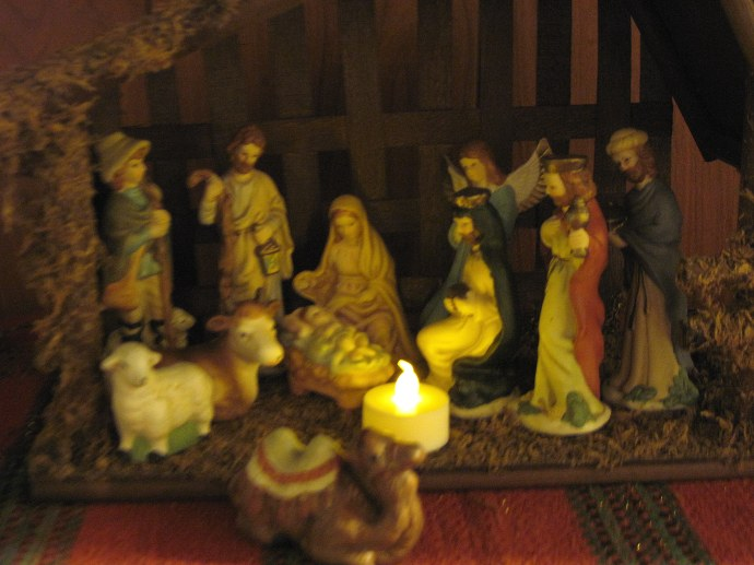 What child is this? 'Tis a photo of the nativity scene in our hallway.