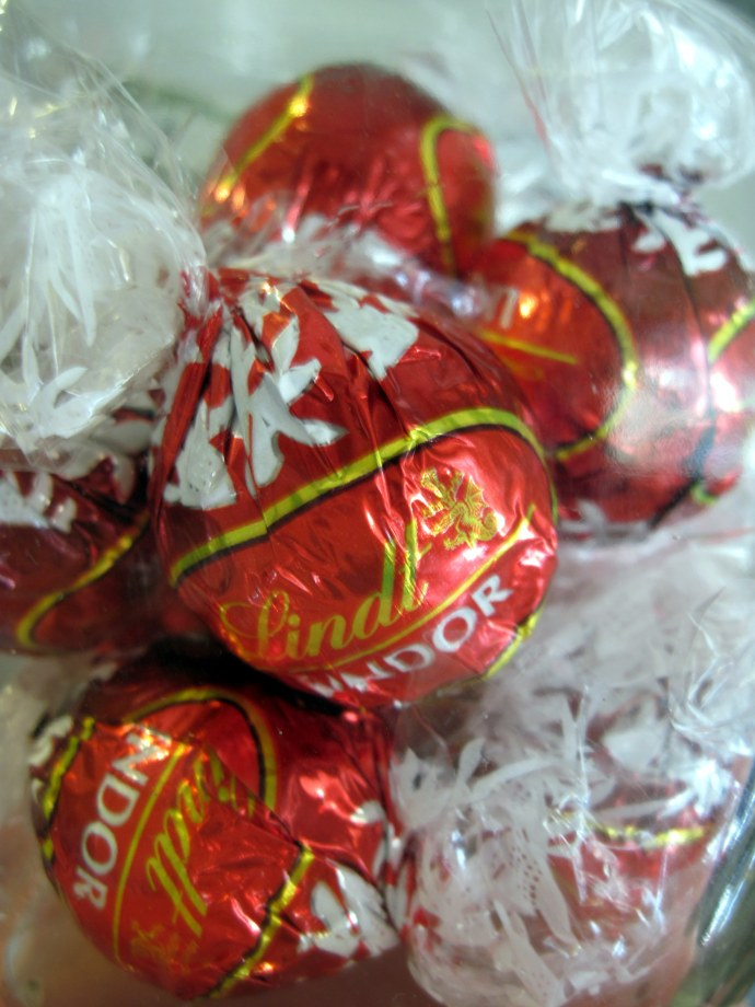 Red, circle, and yum. (Lindt Lindor truffles.)