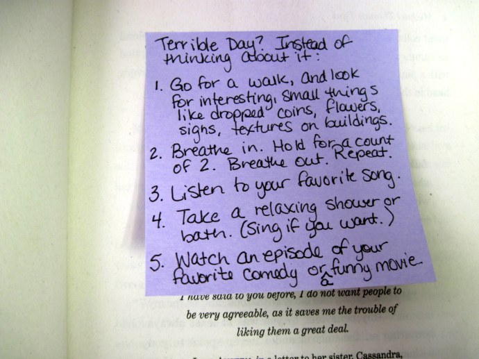Terrible day? Instead think about...List shared in library's copy of 'Jane Bites Back.'